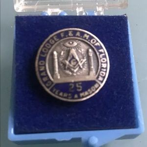 Vintage F &A M of Florida Masons 25 Year Lapel Pin